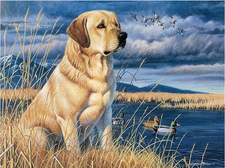 5D Diamond Painting Full Drill Dog And Birds Alisa Diamond Paintings