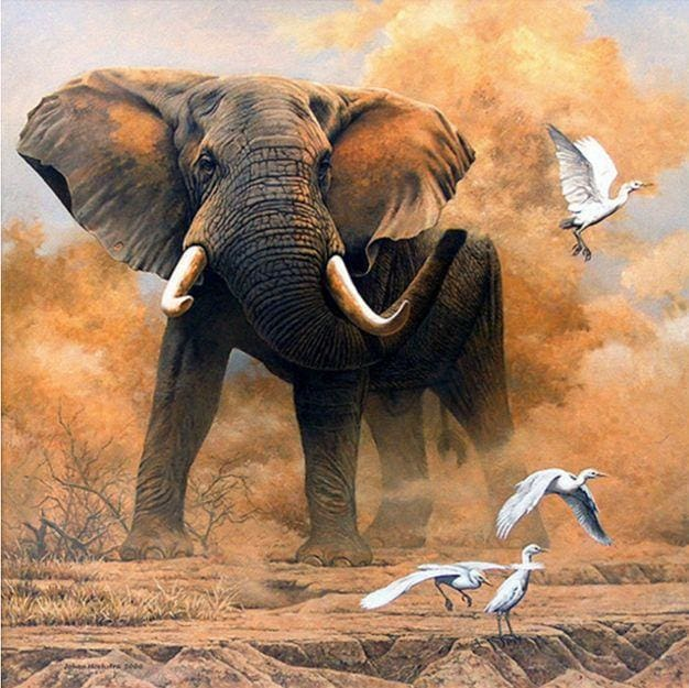 Elephant And Birds 5D Diamond Painting Animals Full Drill Alisa Diamond Paintings