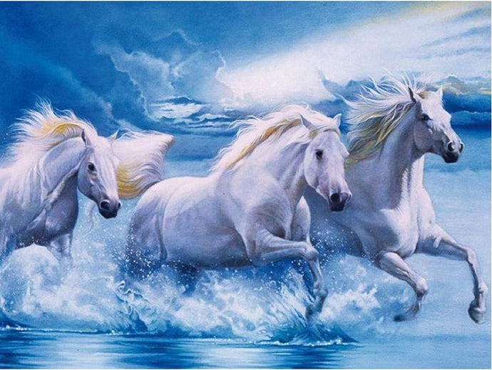 Full Square Drill Diamond Embroidery White Horses Alisa Diamond Paintings