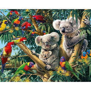 Full Drill Diamond Painting Embroidery Koala Family With Birds Alisa Diamond Paintings