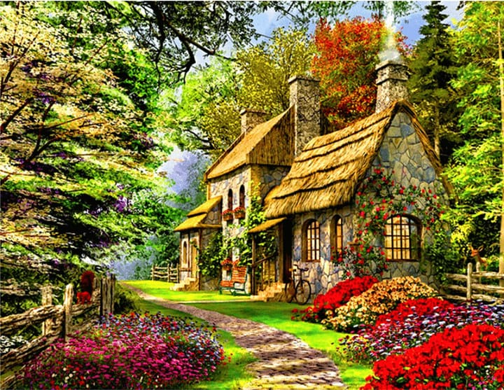 Full Diamond Painting Embroidery Kit Cottage Alisa Diamond Paintings