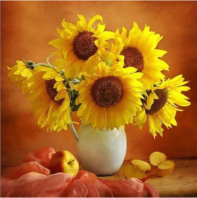 Full Square Drill Diamond Painting Kit Sunflowers In Vase Alisa Diamond Paintings