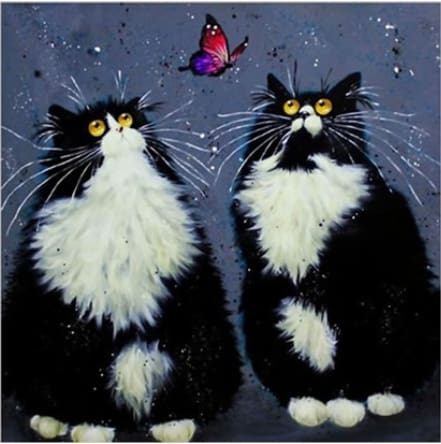 Two Black Cats And Butterfly Cartoom 5D Diamond Painting Alisa Diamond Paintings
