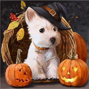 5D Diamond Painting Kit Full Square Drill Halloween Motif White Dog Alisa Diamond Paintings