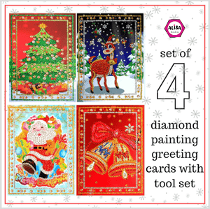 5D Diamond Art Painting Christmas Greeting Cards Kit - Set of 4 Cartoon Alisa Paintings