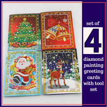 5D Diamond Painting Christmas Greeting Cards Kit - Set of 4 Cartoon Alisa Paintings