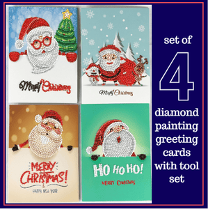 5D Diamond Painting Christmas Greeting Cards Kit - Set of 4 Cards