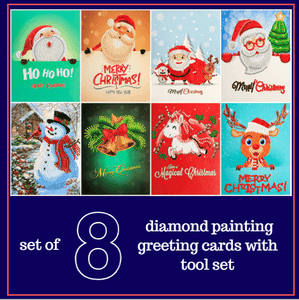 5D Diamond Painting Christmas Greeting Cards Kit - Set of 8 Cartoon Alisa Paintings