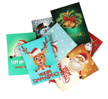 5D Diamond Art Painting Christmas Greeting Cards Kit - Set of 8