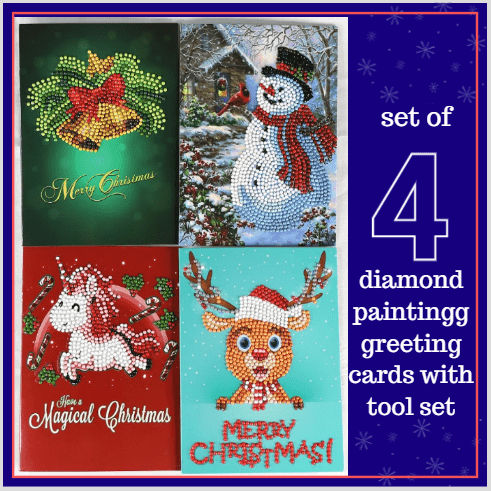 5D Diamond Painting Kit Christmas Greeting Card - Set of 4 Cartoon Alisa Paintings