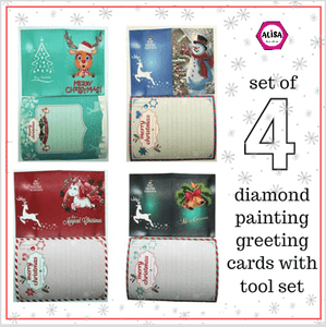 5D Diamond Painting Kit Christmas Greeting Card - Set of 4