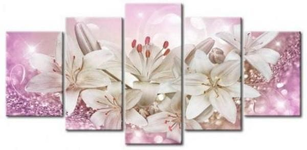 5 Pieces Full Coverage Diamond Paint Kit White Lilly Alisa Diamond Paintings