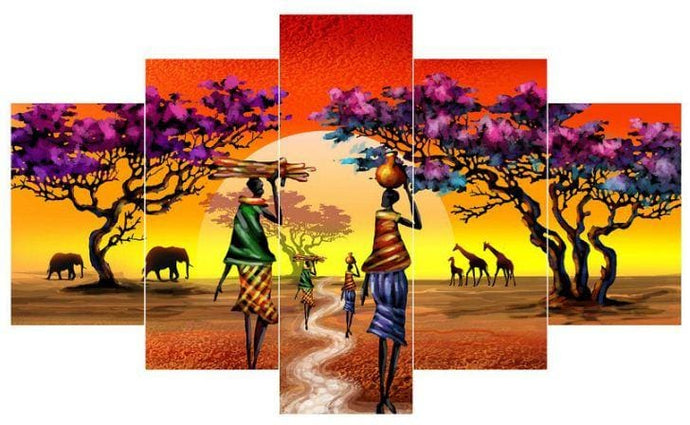 5 Pieces Full Coverage Diamond Painting Kit African Motif Alisa Diamond Paintings