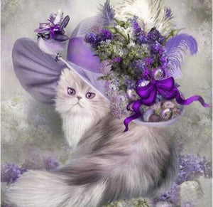 Cat With Flowers 5d Diamond Painting Kit ALISA Diamond Paintings