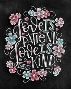 Chalkboard Quotes Diamond Art Painting Kit - Love Is Patient, Love Is Kind