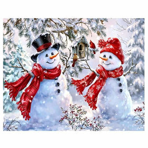 Full Diamond Paint Kit Christmas Snowman Couple ALISA Diamond Paintings