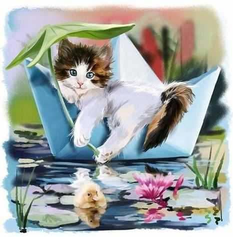 Cute Cat Kids Room Animal Pattern Diamond Painting Kit ALISA Diamond Paintings