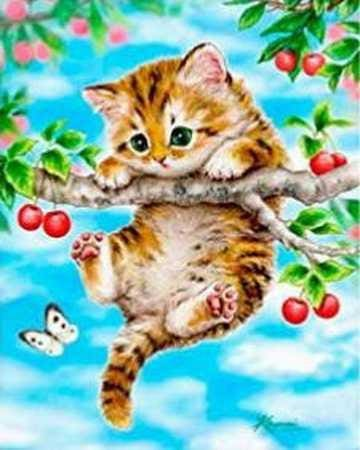 Cute Kitten On The Tree Alisa Diamond Paintings