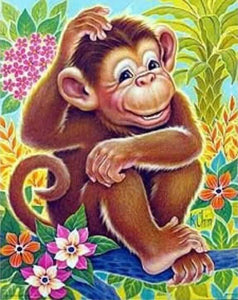 Cute Monkey - Kids Room Animal Pattern Diamond Painting Kit ALISA Diamond Paintings