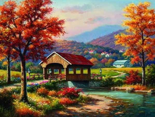 Diamond Embroidery Kit Colorful Autumn Landscape Alisa Diamond Paintings