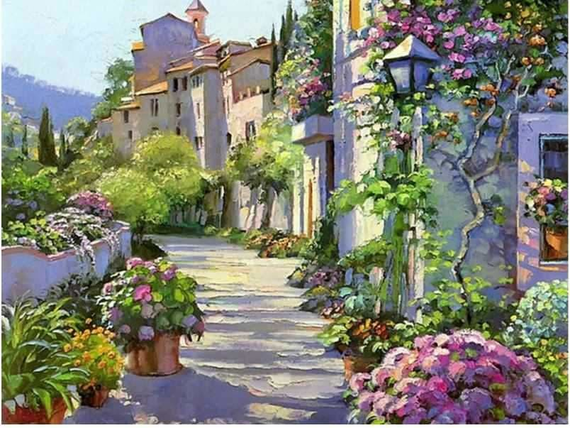 Diamond Painting Cross Stitch Kit Sunny Village Full Drill 40x50 ALISA Diamond Paintings