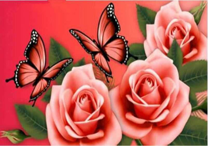 Flowers And Butterflies Diamond Painting Kit ALISA Diamond Paintings