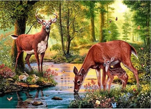 Full Square Drill 5d Diamond Painting Kit Deer Family ALISA Diamond Paintings