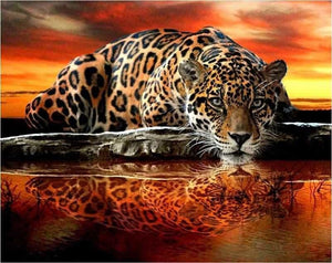 Full Square Drill Diamond Painting Kit Leopard Reflection ALISA Diamond Paintings