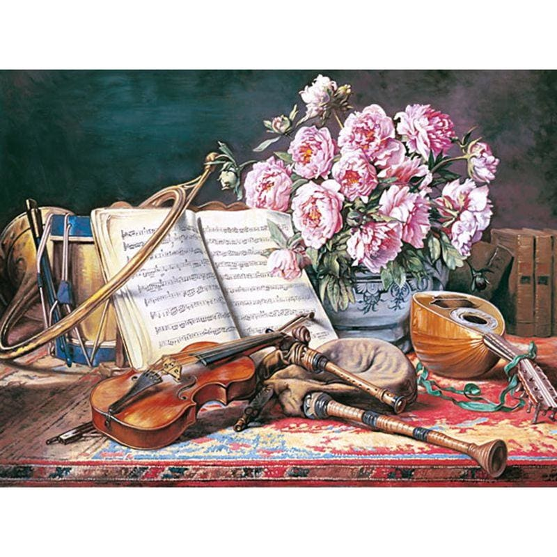 Full Square Drill Diamond Painting Kit Violin And Flowers Alisa Diamond Paintings