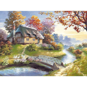 Landscape Diamond Painting Full Drill Old Mountain House Alisa Diamond Paintings