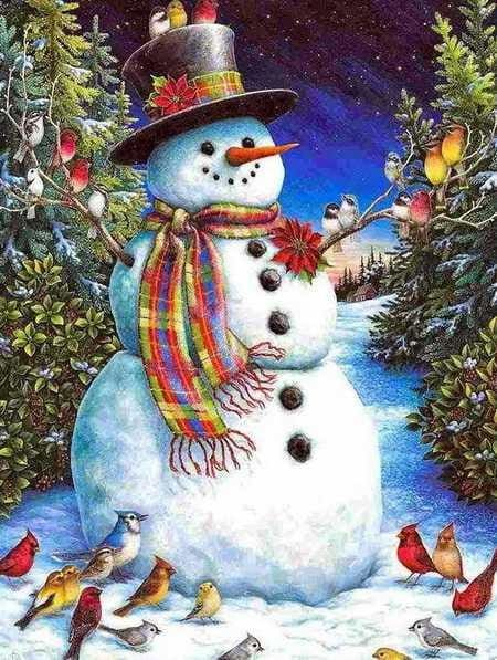 Full Square Drill Diamond Painting Kit Christmas Snowman Alisa Diamond Paintings
