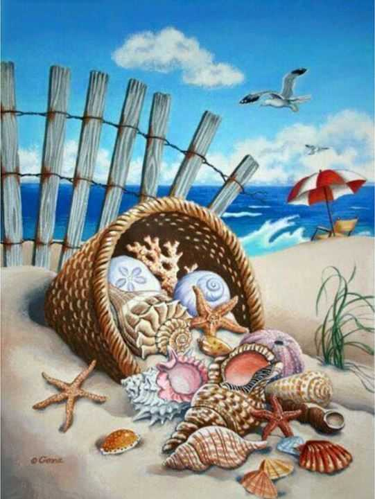 Sea Shell Summer Scene 5d Diamond Painting Kits landscape Alisa Paintings Paint With Diamonds