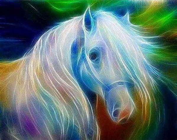 Full Coverage Diamond Painting Kits White Horse Abstract Alisa Diamond Paintings