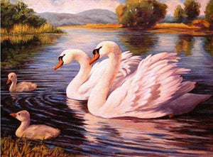 Full Square Diamond Painting Kit Swan On The Lake Alisa Diamond Paintings
