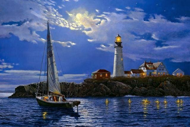 Full Coverage Diamond Embroidery Kit Summer Night Sailing Boat Near Lighthouse Alisa Diamond Paintings