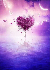 Heart Shape Purple Tree Alisa Diamond Paintings