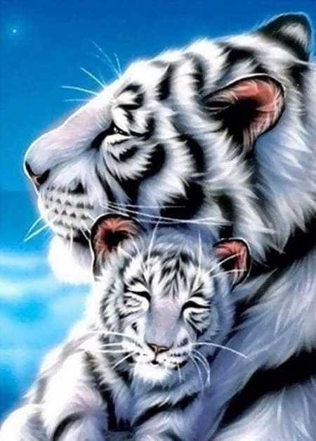 White Tiger Family 5D Diamond Painting Kit Alisa Diamond Paintings