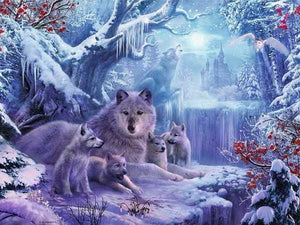 Wolf On Frozen Waterfall Full Square Drill Diamond Painting Alisa Diamond Paintings