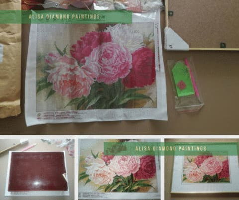 Diamond Painting 5D Full Drill Crystal Rhinestone Embroidery Pictures Arts,Peony