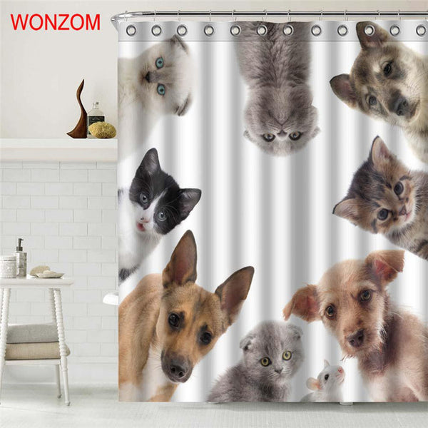 Cute Dog Polyester Fabric Cat Shower Curtain Bathroom Decor Waterproof Animal Cortina De Bano With 12