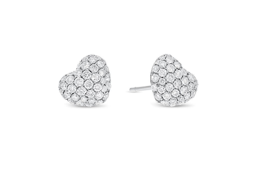 18K White Gold Heart Shaped Diamond Earrings, 1.04 Carats