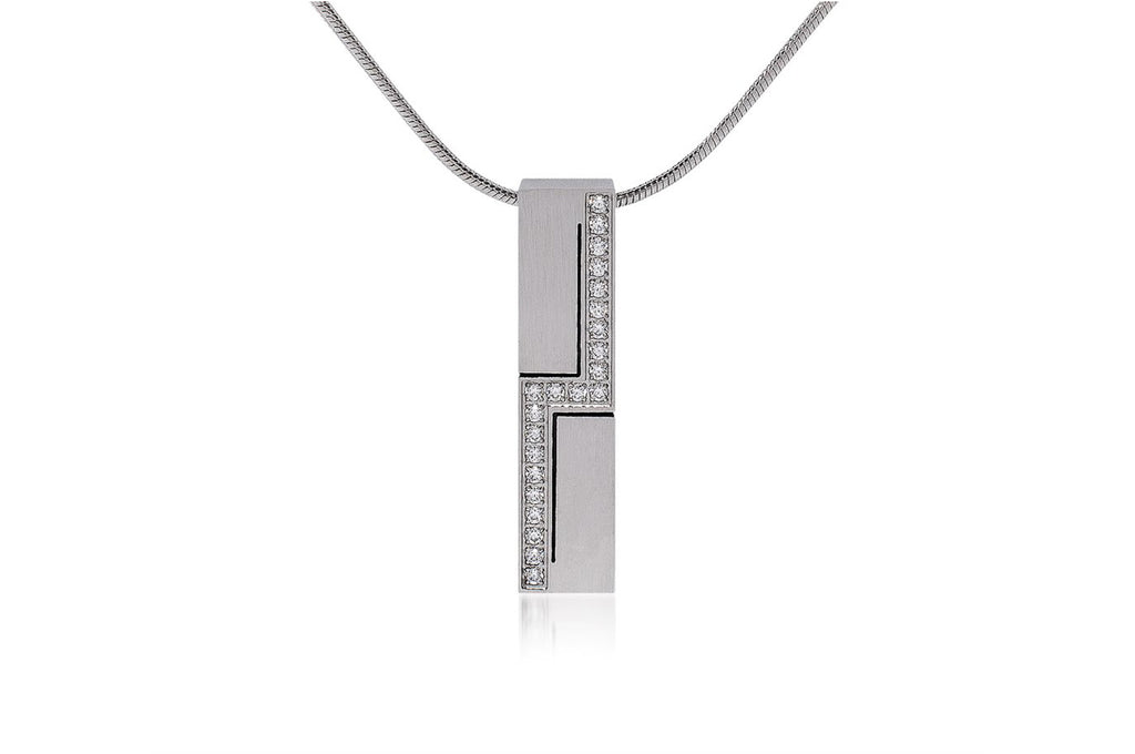 Zeus's Lightning Mens Pavé Stainless Steel Necklace
