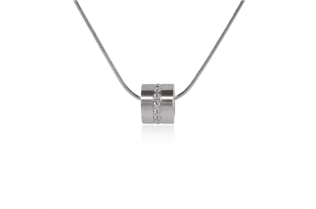 Pavé Barrel Stainless Steel Necklace