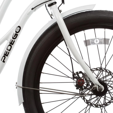 Pedego has color matched fenders for most of their bike colors as well as designer packages