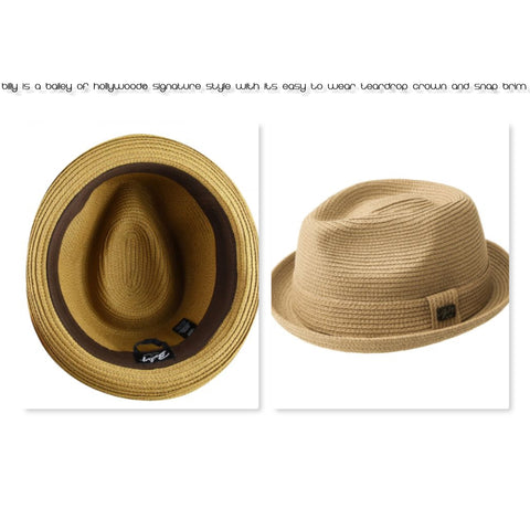 Billy is a Bailey of Hollywood® signature style with its easy to wear teardrop crown and snap brim