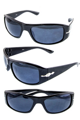 Classic sports men`s sunglasses featuring a wraparound frame and unique metal accent design along the sides