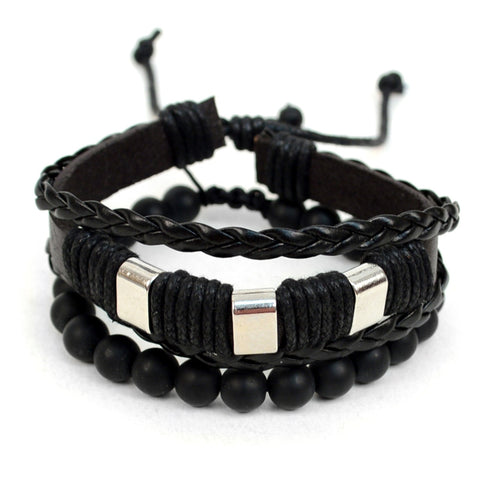 Genuine Leather 2 Piece Bracelet Set for Men Made of: 100 cowhide genuine leather and natural stone Adjustable Size Package include: 1 leather bracelet and 1 natural stone