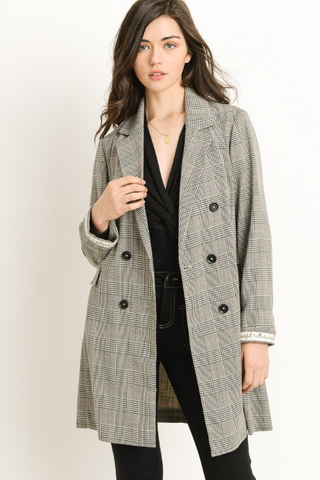 Double breasted plaid coat with a collared neckline and pockets
