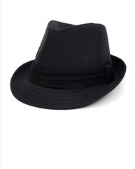 Fall/Winter Solid Black Trilby Fedora Hat