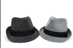 Fall/Winter Striped Trilby Fedora Hat